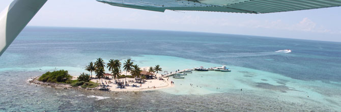 Flying over Goff's Caye in Belize.