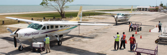 Maya Island Air airplanes parked at the Belize municipal airport.